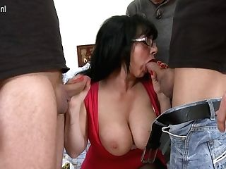 Big Titted Housewife Taking On Three Guys - Maturenl