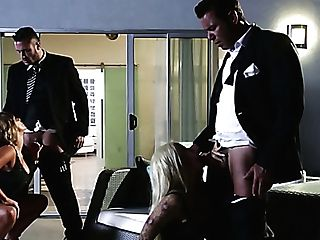 Escort Ladies Serving Mind-blowing Rich Dudes In Arousing Four-way Scene