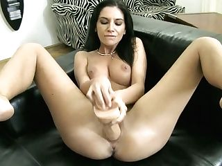 Cougar Dark Haired Bombshell Masturbates With Lengthy Fuck Stick